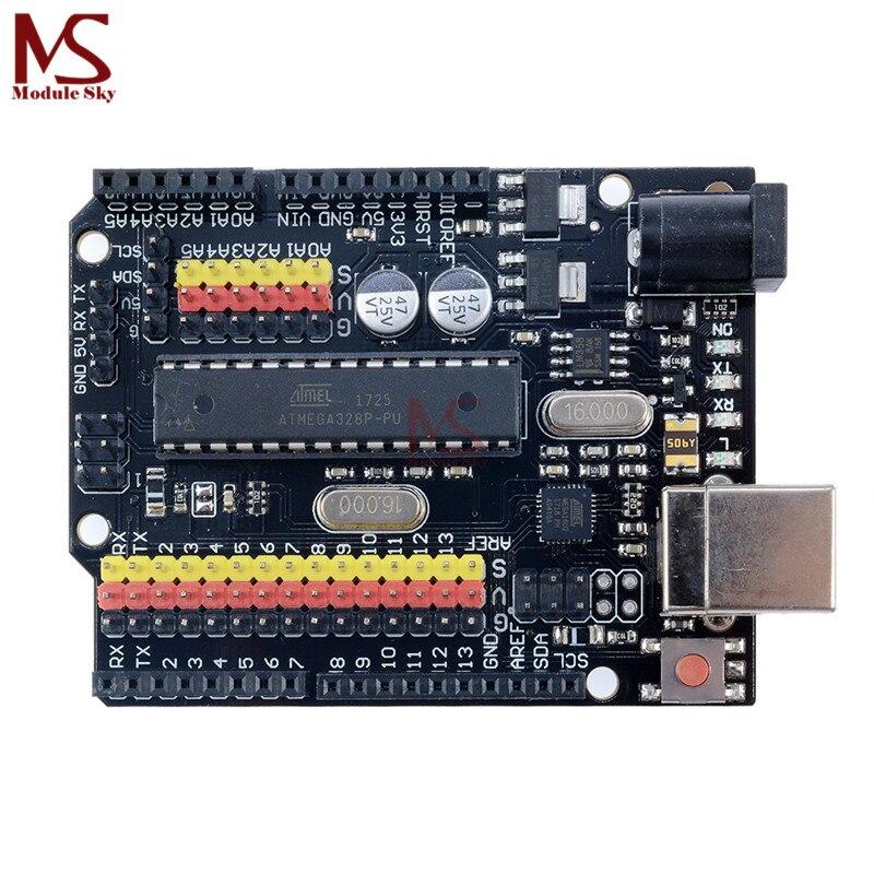 Pour Arduino UNO R3 PLUS Capteur I/O Shield Atmega328P Atmega16U2 Multifonctionnel D'extension Microcontrôleur Conseil de Développement Un