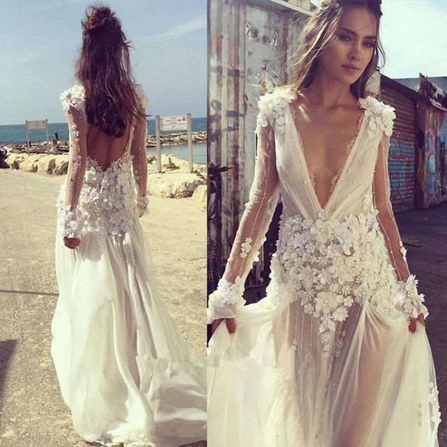 Sexy Boho Beach Wedding Dress 2018 V Neck Long Sleeves Appliques Lace 3D  Flowers Backless Wedding Gown Bride Dress Bridal Gown 4f5d1c09abec