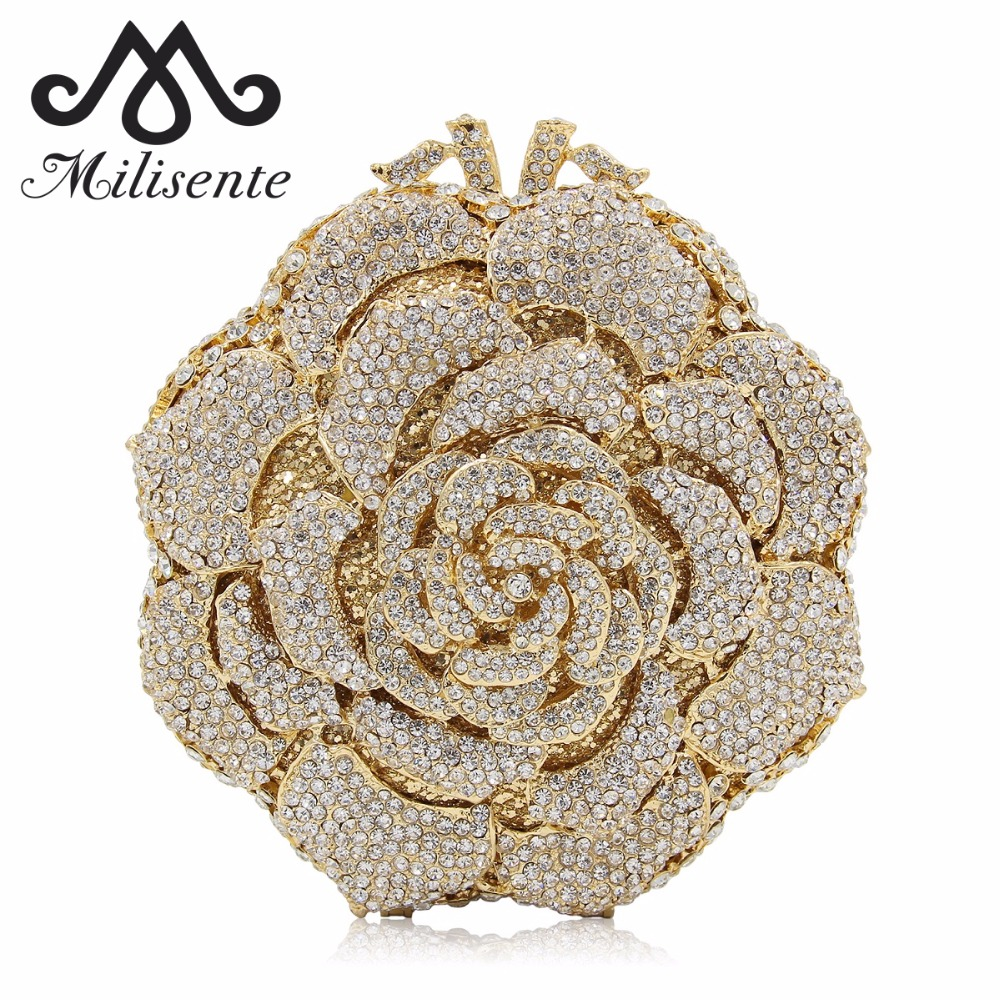 Milisente Women Evening Crystal Clutch Bags Ladies Wedding Pary Flower Bag Female Clutches Purses milisente women luxury rhinestone clutch evening handbag ladies crystal wedding purses dinner party bag gold
