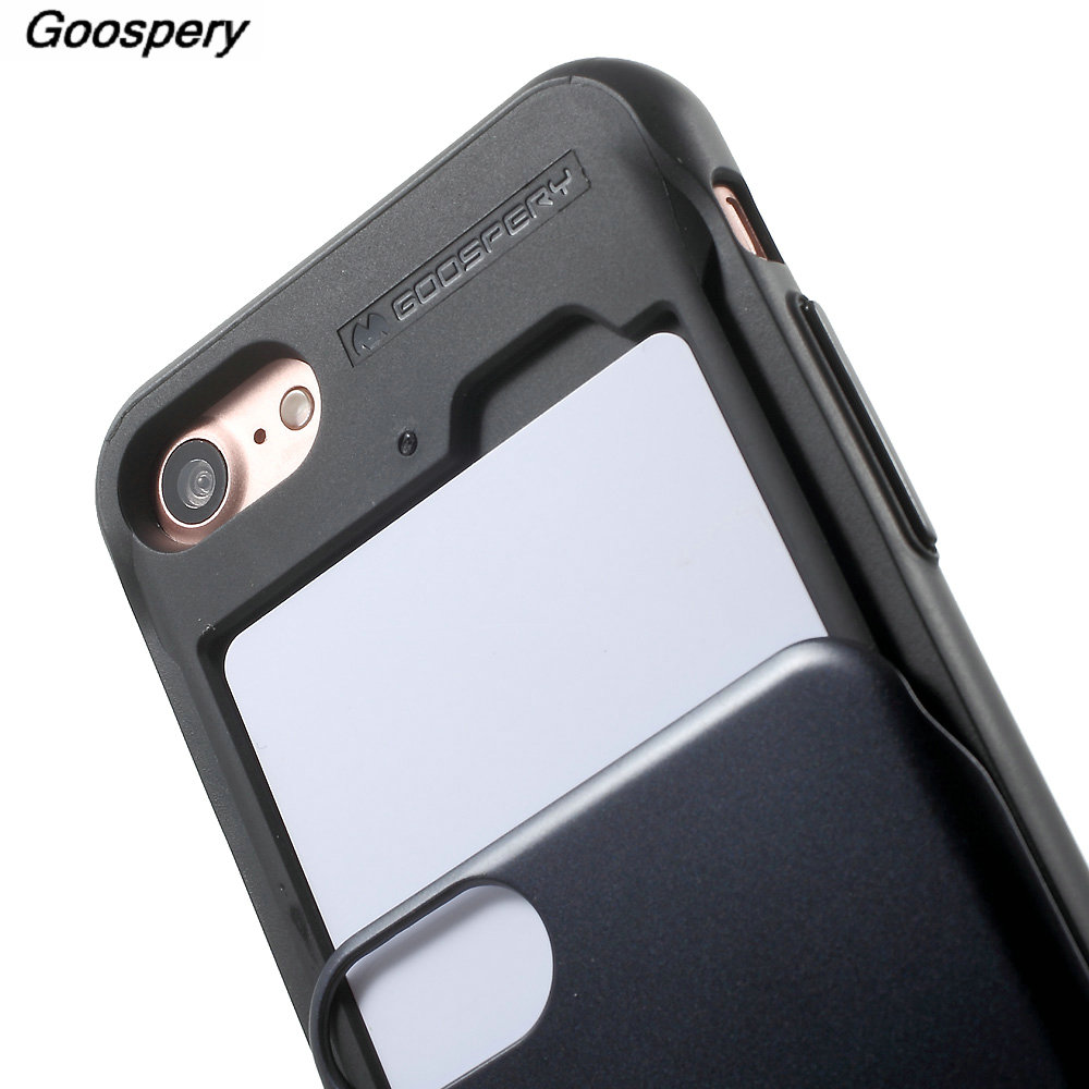 For Iphone 8 Case Original Mercury Goospery Sky Slide Bumper Card 7 Black Holder Pc Tpu Hybrid Cover 47 Inch In Fitted Cases From Cellphones