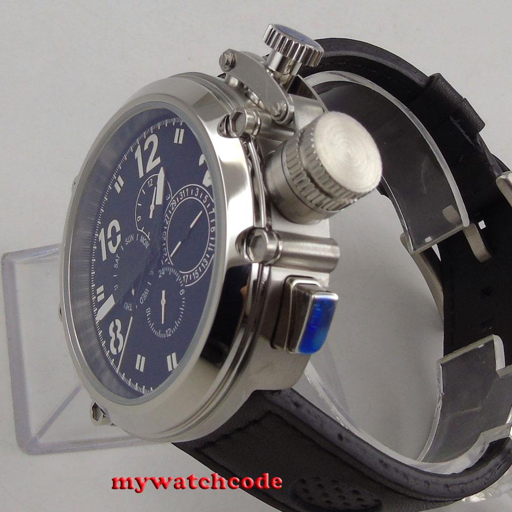 50 ミリメートルパーニスブラックダイヤルレザーストラップ多機能自動メンズ腕時計 P2  グループ上の 腕時計 からの 機械式時計 の中 3