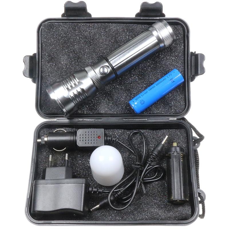High Power Glare LED Flashlight 3800 Lumens Torch Light Tactical Lanterna Car Repair Lamp Rechargeable Zaklamp+Battery+Charger glare 30