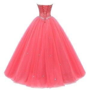 Image 2 - 진짜 그림 화려한 Quinceanera 드레스 2019 크리스탈 비즈 Debutante 볼 가운 댄스 파티 드레스 Vestido De Quince Robe De Soiree