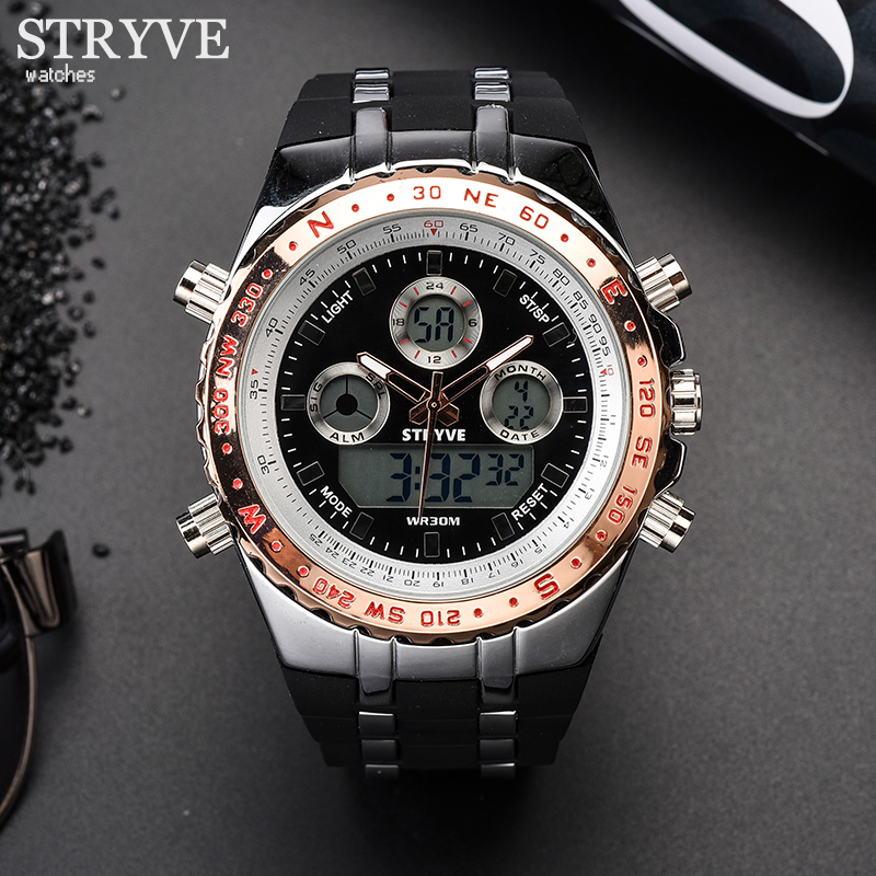 STRYVE Montre Homme Multifunction Sports Watch Men Army Military LED Analog Clock S Shock Luxury Men's Digital Quartz Watches