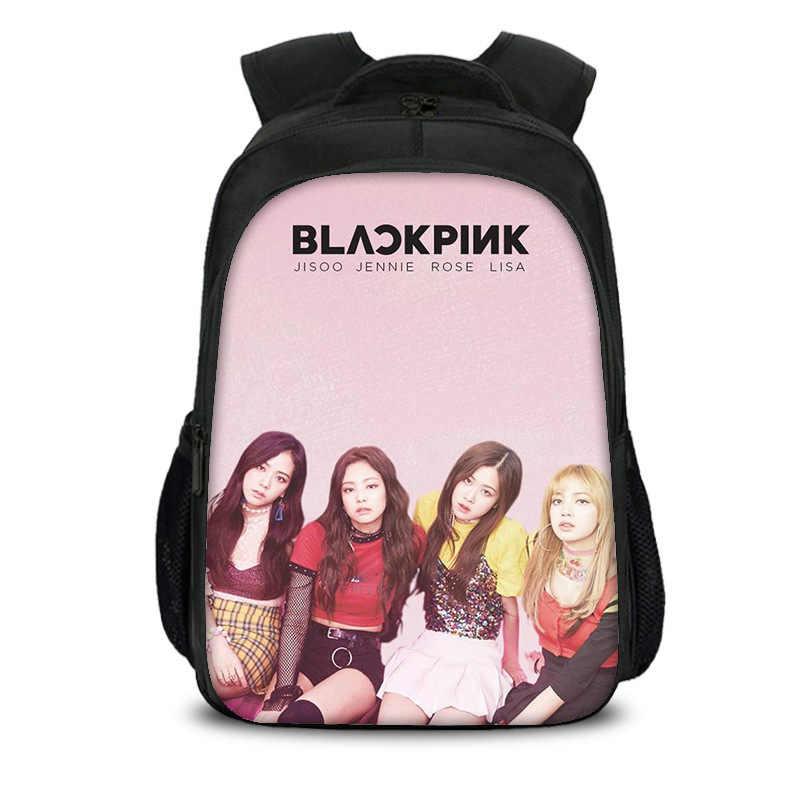 Hot 15.7 Inch Blackpink Black Pink Korean Boys Girls School Bag Book Bag Backpack Children Students Mochila Back To School Gift