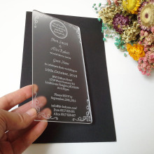 Customized 100 180mm laser engraved letters frosted acrylic wedding invitation card 1lot 100pcs