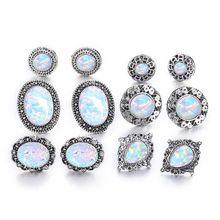 6 Pairs White Round Fire Opal Women Stud Earrings Set Jewelry Vintage Fashion