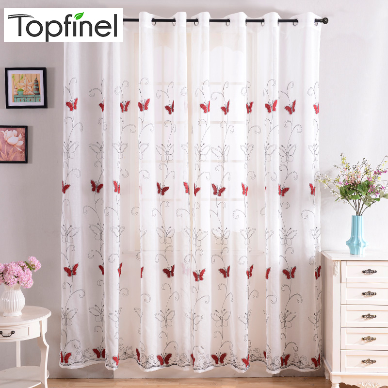 Brand New Top Finel Modern Luxury Embroidered Shaggy Butterfly Sheer Voile Curtains For Living Room Bedroom Kitchen Tulle Window