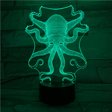 Animal octopus Led Night Light Touch Sensor 7 Color Changing Decorative Lamp Child Kids Baby Kit Nightlight 3D