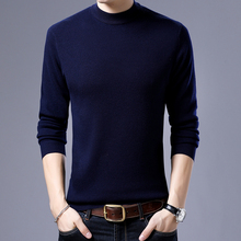 Free Shipping Autumn Winter Thick Warm 100%  Wool Sweater Men Casual Solid Color Cashmere Turtleneck Pullover Men