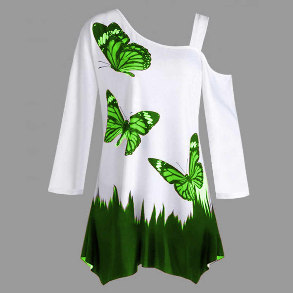 9894770caf5 ... Feitong Plus Size Women's Butterfly Print Blouses Sexy One Shoulder  Long Sleeve Tunic Loose Blouse Tops ...