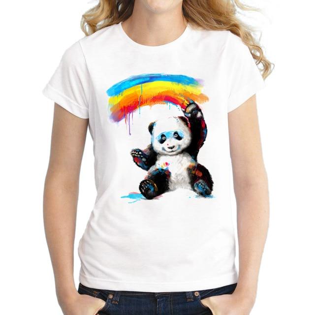 2017 Women Giant Painter T-Shirt Short Sleeve Casual Tops Novelty Panda Rainbow Printed T Shirts Fashion Tee