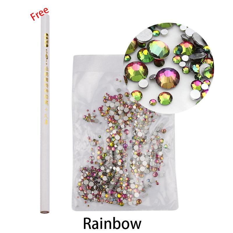 Mix storlekar Rhinesotne kristall ab Crystal Flatback blandat ss3-ss16 glas nagel Rhinestones för naglar konstdekorationer med fri penna