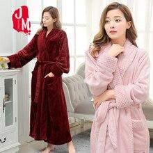 Winter Thick Warm Female Coral Fleece Kimono Robe Flannel Women Nightgown Bath Gown Sleepwear Large Long Bathrobe M L XL Sleep female coral fleece kimono robe nighty