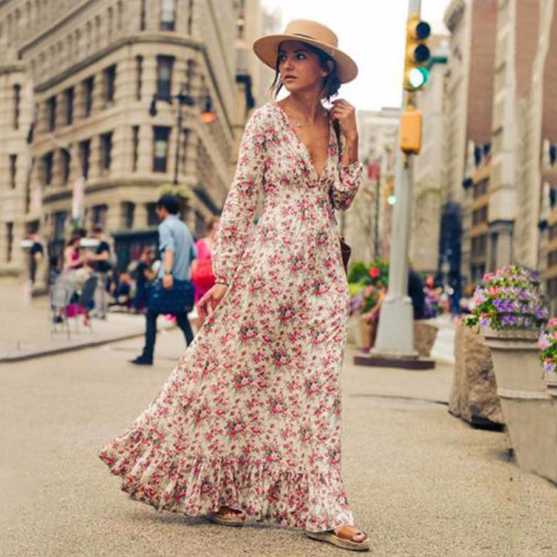 2018 Bohemian Printed long Dress Women Floral Printed Maxi Dresses Hippe Deep V-Neck Ruffle Dress Chic Boho Clothing Rome Femme