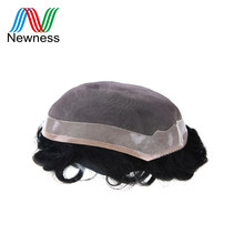 NEWNESS Toupee Durable Remy Human Hair Men Toupee Lace PU Men Wig Hair System for Men Mono Net Base PU Can Cut(China)