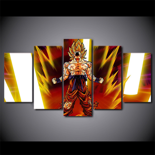 Artsailing Hd Print 5 Piece Canvas Art Dragon Ball Z Poster Goku Super Saiyan Painting Wall Pictures Living Room