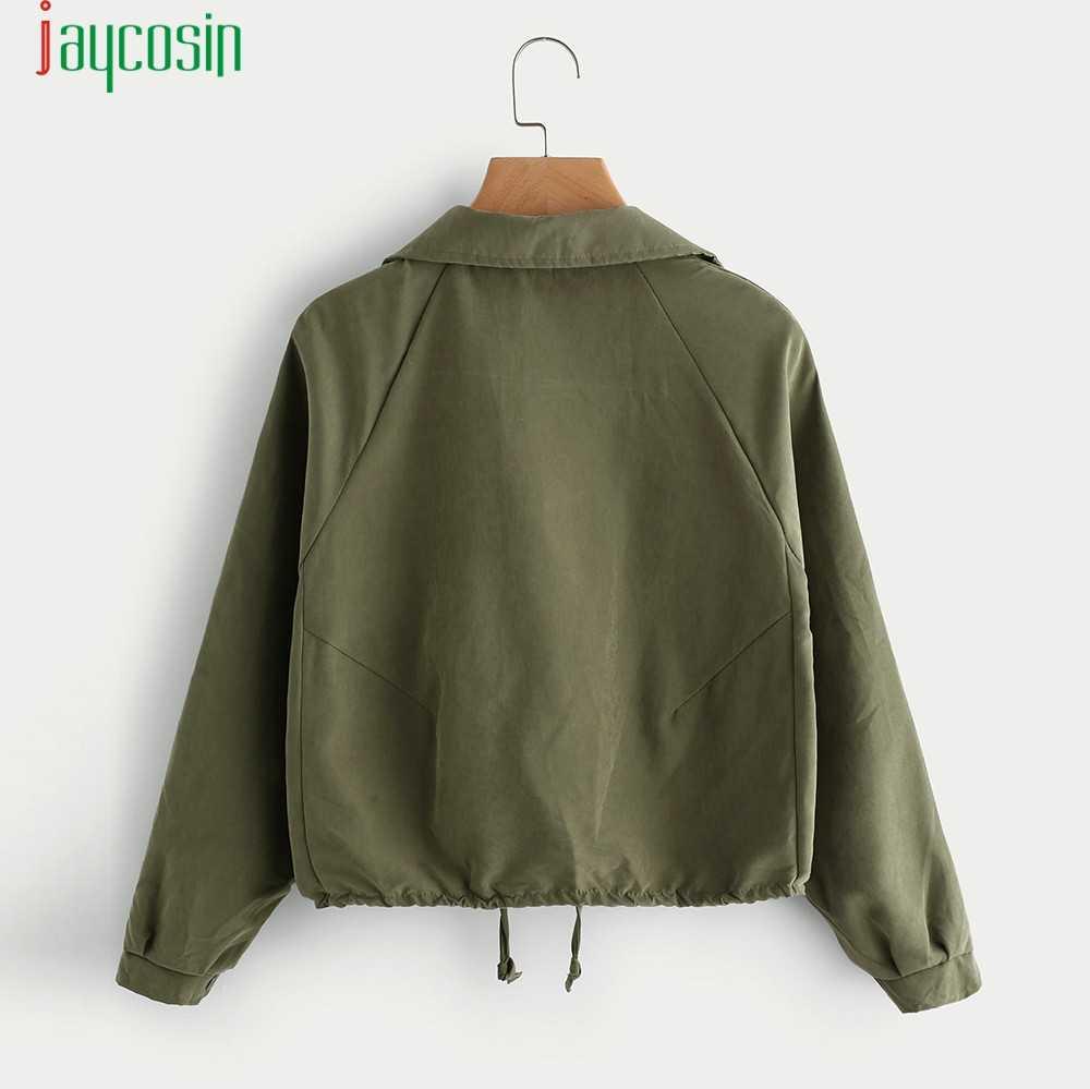 JAYCOSIN ジャケット女性のファッションソリッドカラー生き抜くコートカジュアルボタン秋服ポケット定期的な長袖生き抜く 09