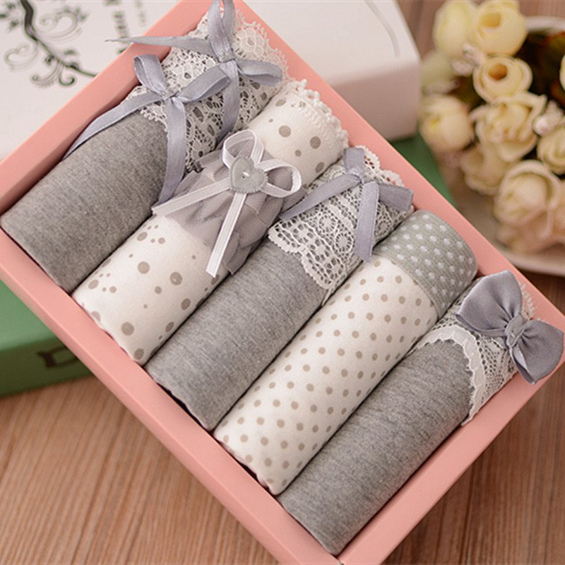5 Pcs Women's Briefs Panties Gift Box Combination Cotton Underwear Bowknot Lady's Lovely Underwear Panty