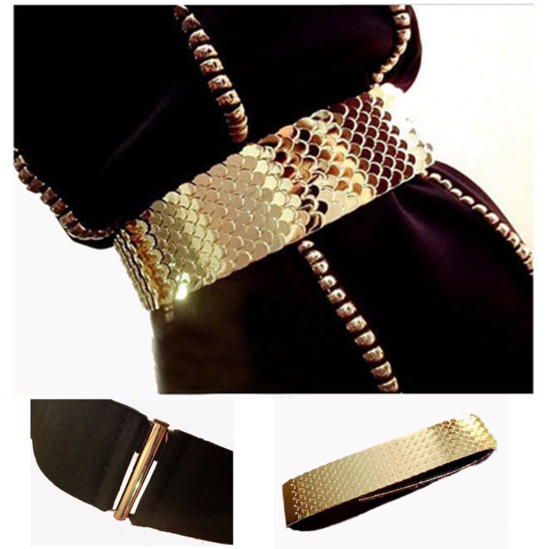 4.5cm Wide Elastic Black   Belt   Women Gold   Belt   Metal Fish Skin Keeper Brand   Belts   for Women Cinto Feminino S/M/L bg-013