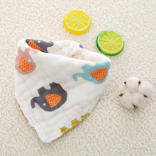 Baby Bibs Triangle 8 layers Muslin & Burp Cloth Newborn Cartoon Animal Cute Print Bandana Saliva Towel