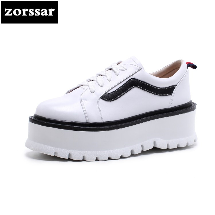 {Zorssar} 2018 New Genuine Cow Leather fashion Female shoes Casual flats Shoes Comfortable Flat platform women sneakers shoes vicamelia 2017 fashion women casual shoes grey appliques women flat shoes comfortable women sneakers female footwear 067