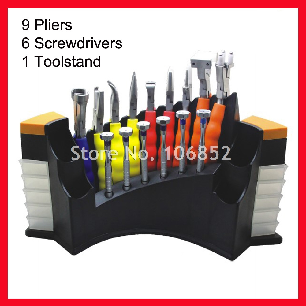 DH08HC Optical Repair Tools Stand Eyeglasses Glasses Tool Kit Set 9pcs pliers and 6 screwdrivers