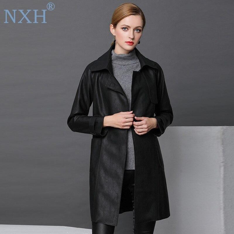 NXH 2018 mode en cuir véritable PU cuir trench femmes a-ligne manteau long style trench femmes coupe-vent outwear femme