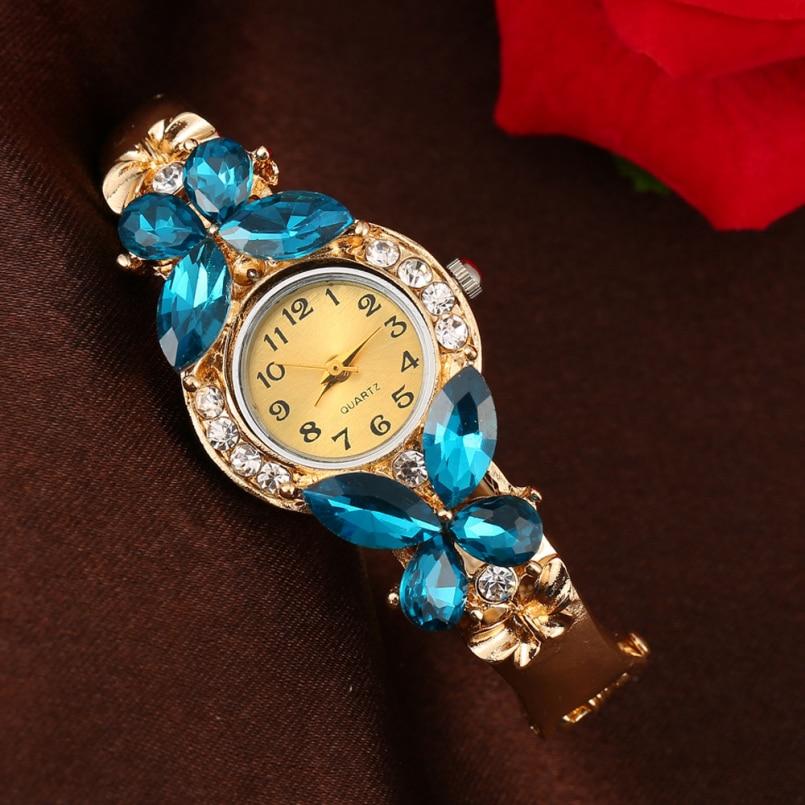 Excellent Quality Brand New Bangle Watches Women Crystal Flower Bracelet Dress Quartz Watch Casual Wristwatch relojes mujer