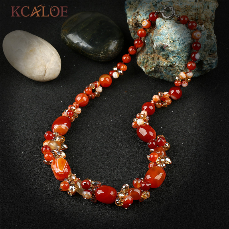 KCALOE Official Store KCALOE Crystal Beads Choker Necklace For Women Fashion Red Natural Onyx Stone Statement Necklaces Handmade Fine Jewelry Colier