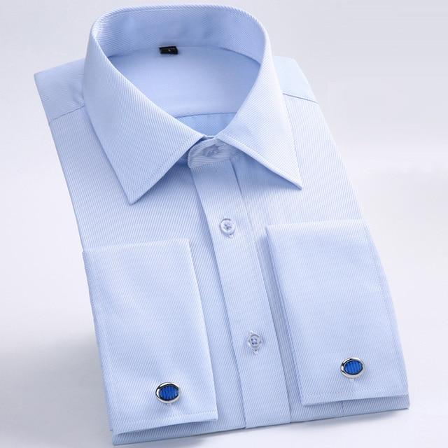 Newest Style Men French Cufflinks Shirt 2018 New Men's Shirt Long Sleeve Male Brand Shirts Elegant French Cuff Men Dress Shirts