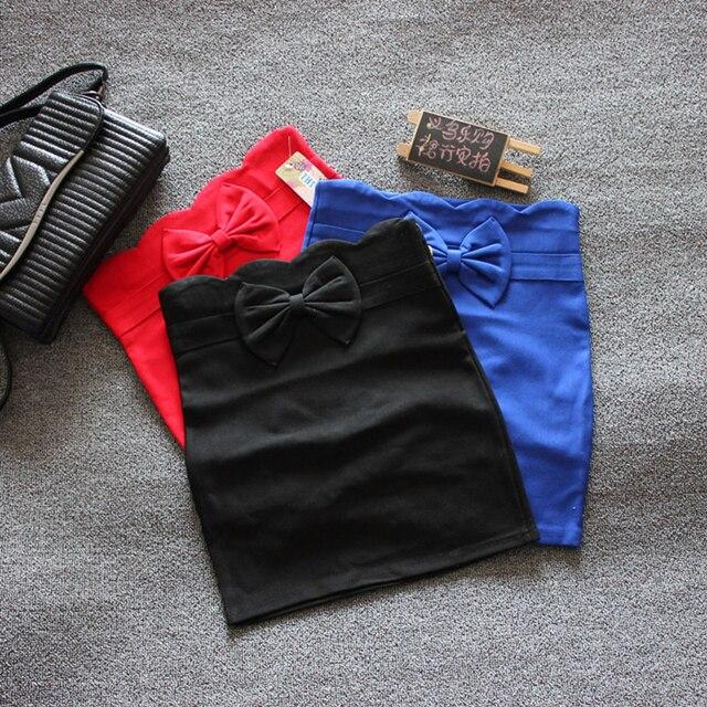 Новая коллекция весна и лето эластичного нейлона хлопок юбка тонкий леди оккупация юбка короткий лук твердые плотно мешок хип юбка
