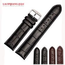 Laopijiang para hombre para mujer de la correa de cuero hebilla de correa de cuero genuina 20 mm clásico
