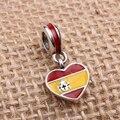 España Bandera Del Corazón Encantos Original 100% Auténtico 925 Sterling Silver Beads Thread fit Pandora Charms pulseras y Collares
