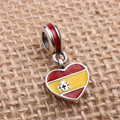 Spain Heart Flag Charms Original 100% Authentic 925 Sterling Silver Thread Beads fit for Pandora Charms bracelets & Necklaces
