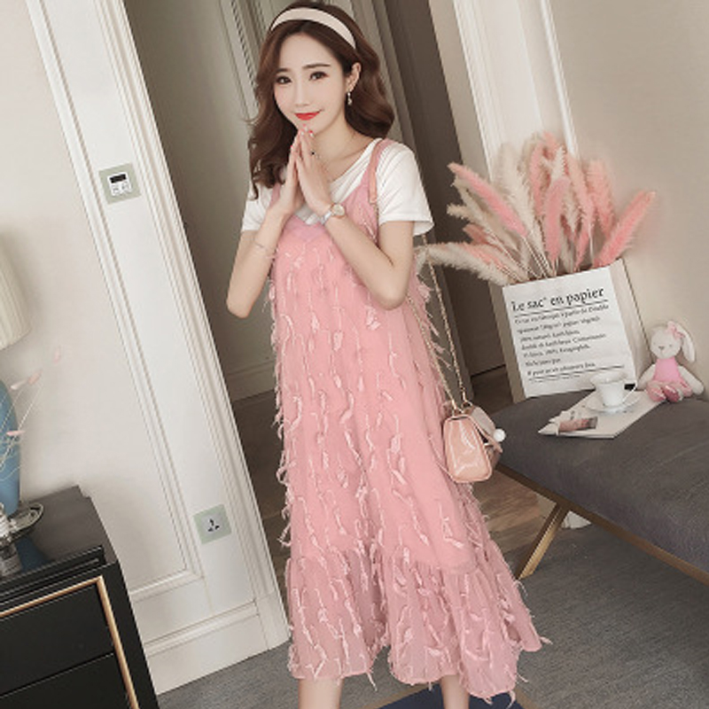Maternity Suit Summer Dress Maternity Clothes Korean Version Sling Dress + Short-sleeved T-shirt Coat Two Sets of Pregnant Women