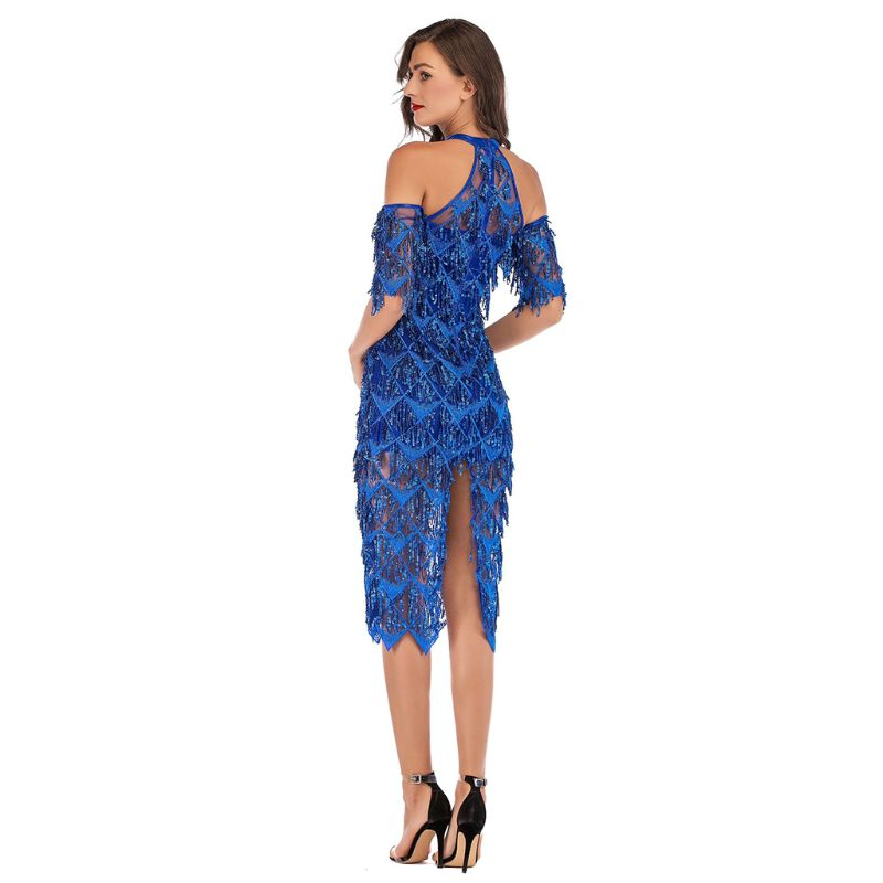 Womens Halter Sexy Off Shoulder Half Sleeve Solid Color Cocktail Party Midi Bodycon Dress Glitter Sequins Tassels Fish Scales Hi in Dresses from Women 39 s Clothing
