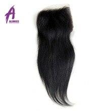 "Alimice Hair Brazilian Straight Hair 4""x 4"" Free Part Lace Closure Human Hair Closure 8-20inch Natural Color Non Remy Hair"