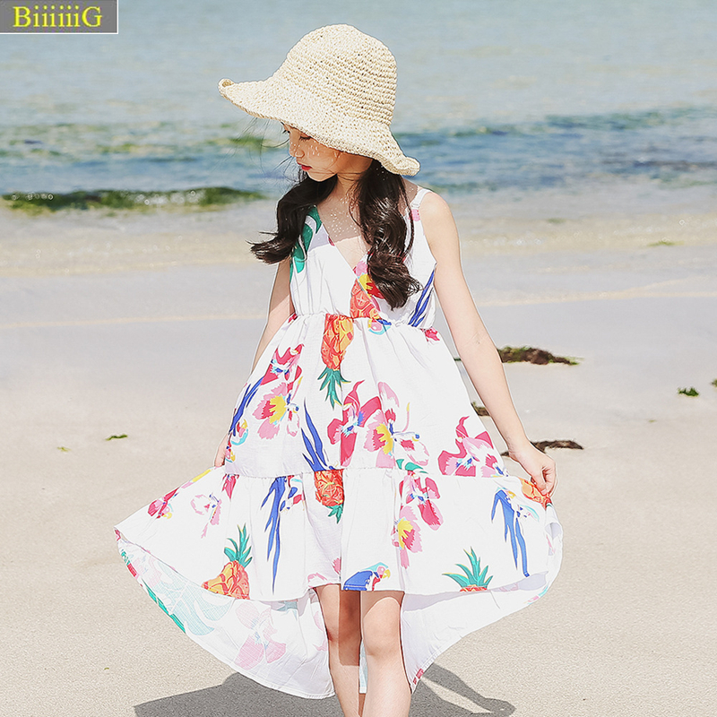6-15y Summer Bohemia Style Girls Dress Fashion Flamingo Princess Dresses Holiday Beach Flower Girl Dress Kids Chiffon Clothes 7y fathul kamil tumbriyantoro privatization and telecommunication reform
