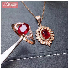 Natural Ruby jewelry sets for women Bride gift Precious fine Jewelry Flower Necklace Ring 925 Sterling silver 18K Plated #177