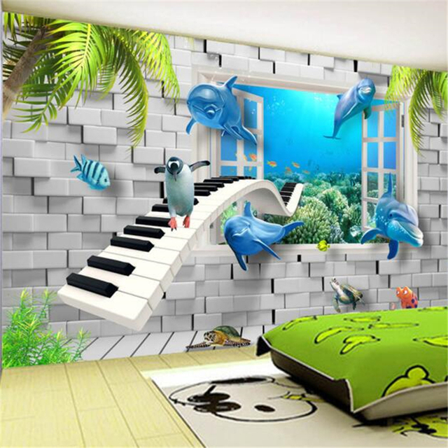 beibehang personnalis papier peint 3d hd moderne creative monde sous marin enfants chambre 3d. Black Bedroom Furniture Sets. Home Design Ideas
