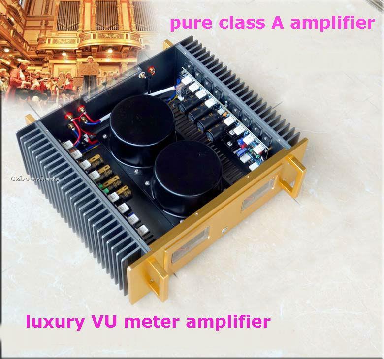 Роскошные A60 обратитесь Золотой горло чистый класс двойной VU meter усилитель 2SC5200 2SA1943 транзисторов