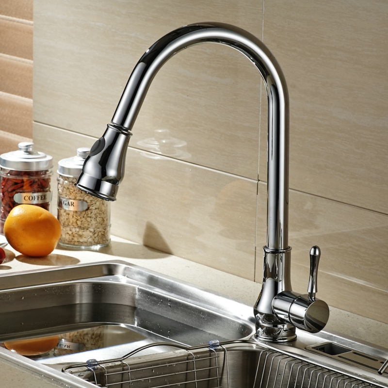 Becola New Design Pull Out Faucet Chrome Kitchen Faucet Solid Brass Swivel Sink Mixer Tap B