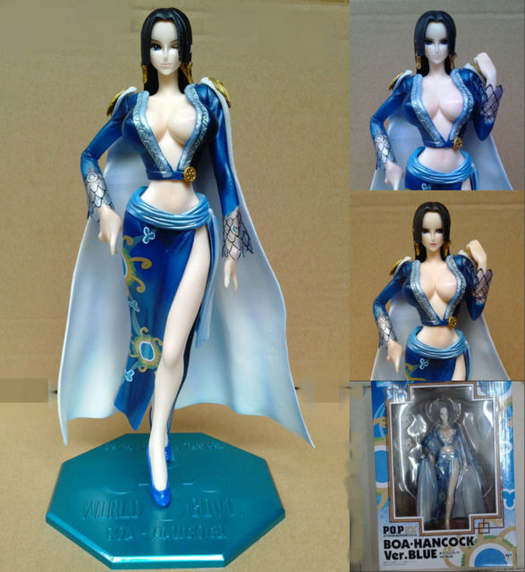 One Piece Action Figure Boa Hancock POP Ver.Blue PVC Figure 24cm High Sexy Girls Toys Free Shipping