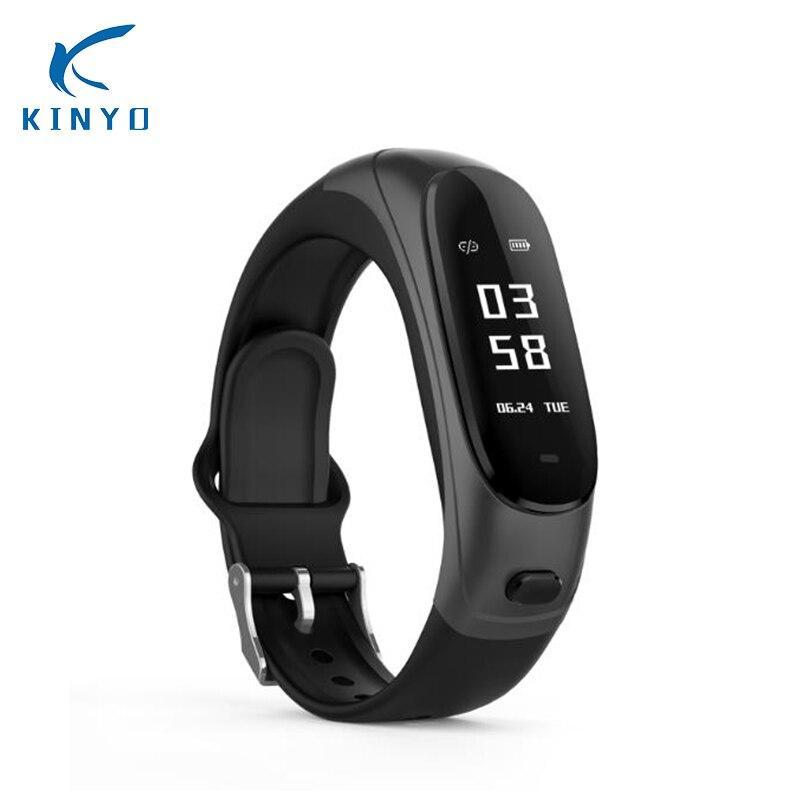купить Bluetooth Earphone Smart Bracelet Wristband Smart Band Heart Rate Blood Pressure Monitor Activity Fitness Tracker pk mi band по цене 5575.8 рублей