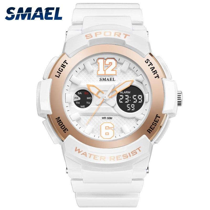 SMAEL reloj de señora para Mujer Deporte impermeable reloj Top marca de lujo hombres reloj de pulsera Digital 1632 niños enfermera reloj de San Valentín