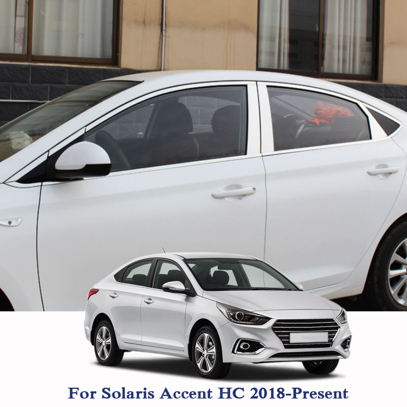 Car Styling Column Sticker For Hyundai Solaris Accent HC 2018 2019 Window Trim Cover Exterior Body Decoration Chrome Accessories