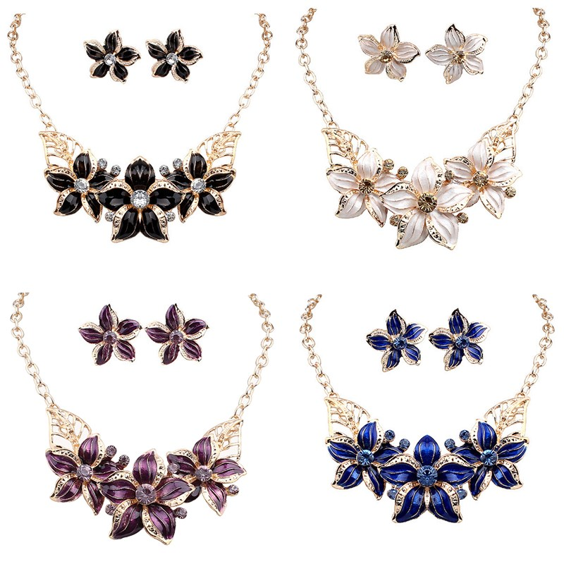 Hot 4Styles Flower Statement Earring/Necklace Austrian Crysts