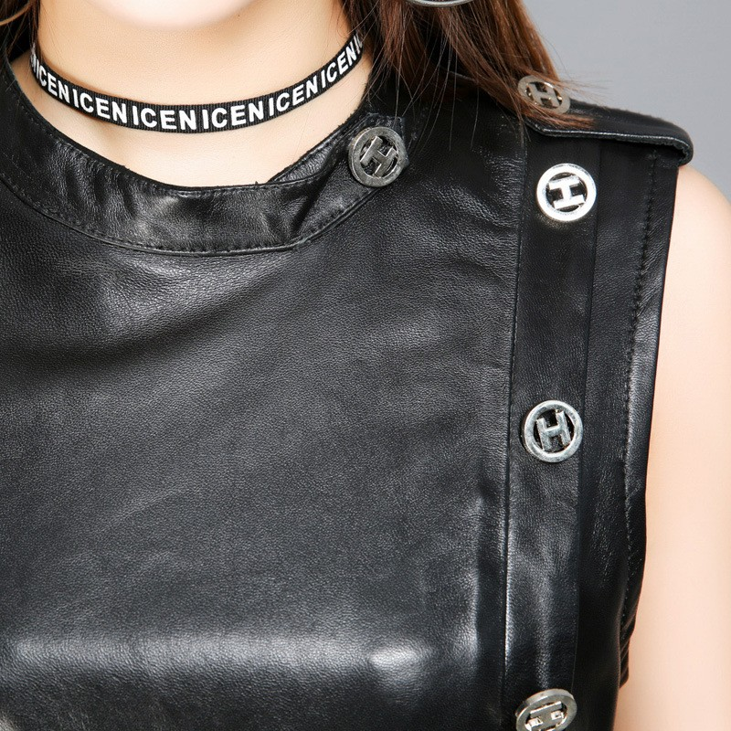 Qualité Noir Cuir Manches Mince Véritable Robes Luxe En Parti De Robe Black Femmes Peau Mouton Vêtements Haute Dames wqfYx86