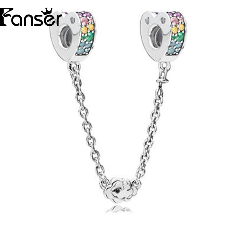 FANSER 2018 New style Rainbow series Safety Chain for Bracelet PANDORS Original Copy High quality Geniune 925 Sterling Silver
